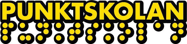 Punktskolan logotyp i gult och svart, skrivet mede vanlig text samt i punktskrift rakt under.